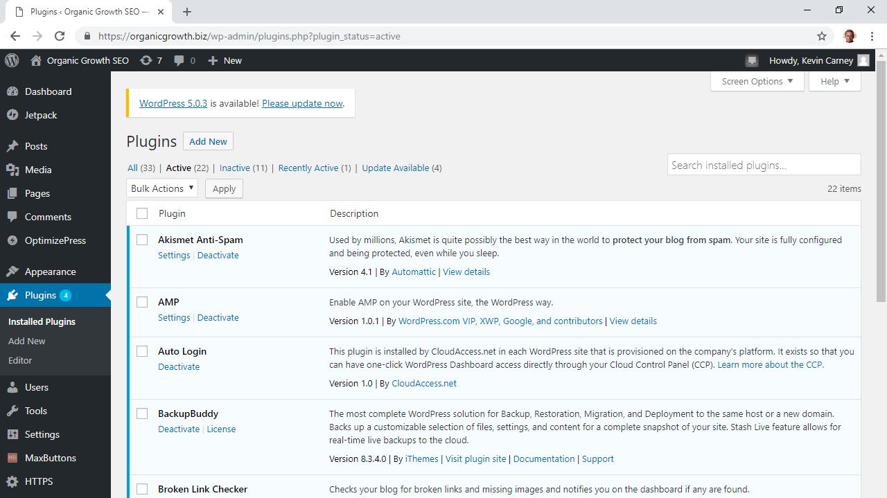 Screen shot of Plugins within a WordPress Dashboard