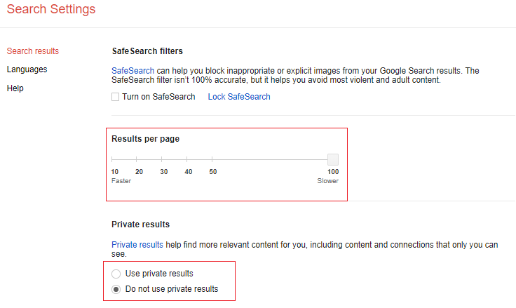 Image shows how to set Google search settings to show 100 results per Search Engine Result Page, and to NOT use private search results.